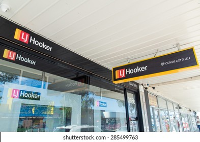 Melbourne, Australia - September 21, 2015: LJ Hooker is an Australian national chain of franchised real estate offices, such as this office in Springvale.