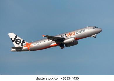 Melbourne, Australia - September 25, 2011: Jetstar Airways Airbus A320-232 VH-VGF departing Melbourne International Airport.