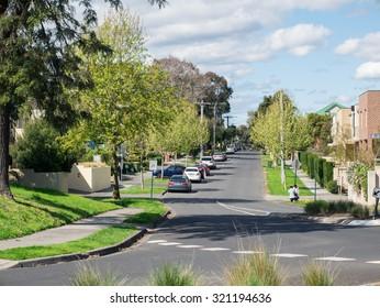 Melbourne, Australia - September 25, 2015: suburban street in Box Hill in the eastern suburbs of Melbourne.