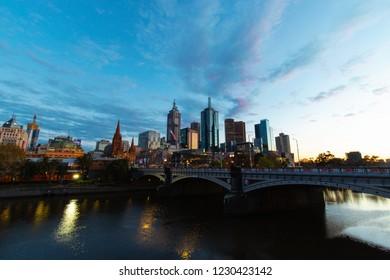 Melbourne, Australia - September 27, 2018: Melbourne CBD view in the morning after sunrise.