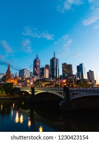 Melbourne, Australia - September 27, 2018: Sunrise view of Melbourne CBD with cloudy sky.