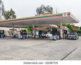 Melbourne, Australia - September 28, 2015: In 2010 7-Eleven bought Mobil's petrol stations in Australia. This 7-Eleven service station and convenience store is on Whitehorse Road in Mont Albert.