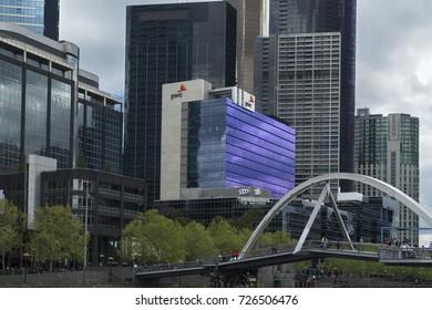 Melbourne, Australia - September 29, 2017: Evan Walker Pedestrian Bridge with views of Crown Casino, PWC and Highrise buildings in Melbourne.