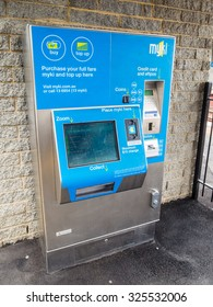 Melbourne, Australia - September 30, 2015: Myki is the ticketing system for Melbourne's bus, train and tram public transport network. This is a ticketing machine at Surrey Hills Station.