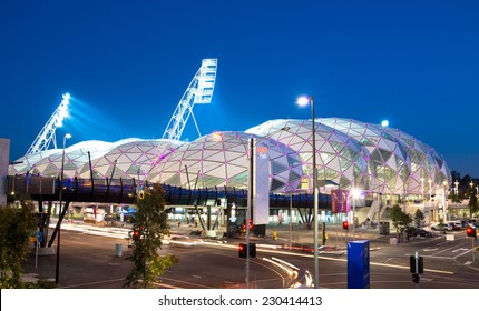 MELBOURNE, AUSTRALIA - SEPTEMBER 5, 2014: AAMI Park was built in 2010 and was Melbourne's first purpose built rectangular stadium as opposed to the oval stadiums used for AFL and cricket.