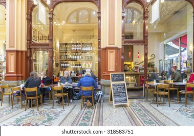 Melbourne, Australia - September 5, 2015: People having meals in an indoor, stylish cafe in The Block Arcade, a heritage shopping arcade, in the heart of Melbourne's CBD.