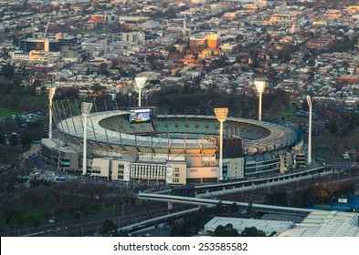 MELBOURNE, AUSTRALIA - September 6, 2014: the Melbourne Cricket Ground is a cricket and football stadium with a capacity of over 100,000. It hosted the 1956 Olympic Games.