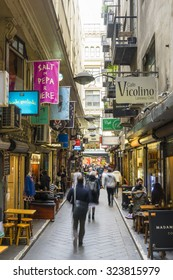 Melbourne, Australia - September 9, 2015: Cafes, bars, shops and people in Centre Place in Melbourne. Centre Place is one of the famous city laneways in Melbourne.