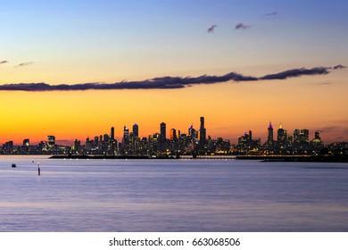 Melbourne, Australia.  Skyline at sunset.