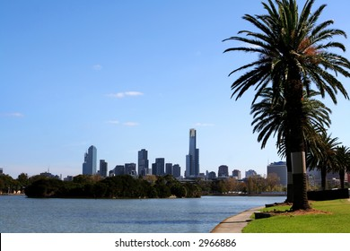 Melbourne, Australia, viewed across Albert Park Lake