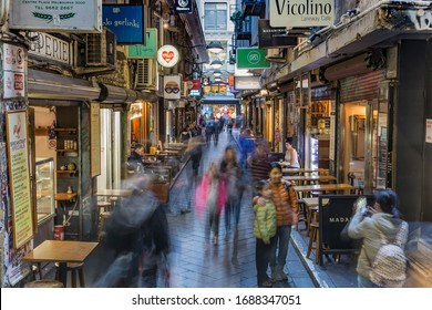 Melbourne, Australia-January 8, 2018: Degraves Street is a popular cafe and retail laneway between Flinders Street and Flinders Lane in Melbourne CBD.