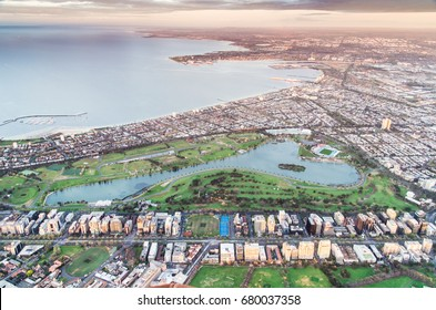 Melbourne bayside suburbs of Albert Park and South Melbourne, with Albert Park Lake in the foreground, in Australia.