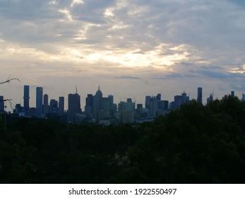 Melbourne CBD cityscape from lookout at Yarra Bend Park, Australia