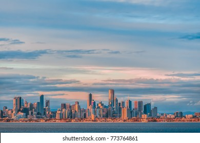 Melbourne CBD skyline panorama at sunset, Victoria, Australia