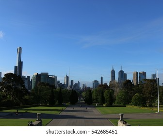 Melbourne city center from Shrine of Remembrance