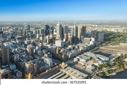 Melbourne city central area from top view