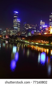 Melbourne City Lights over the Yarra River, Night, Australia
