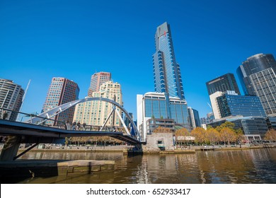 Melbourne city skyline in Australia with blue sky