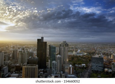 Melbourne city skyline with dramatic cloud cover