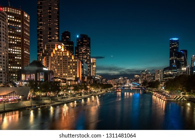 Melbourne city skyline at night