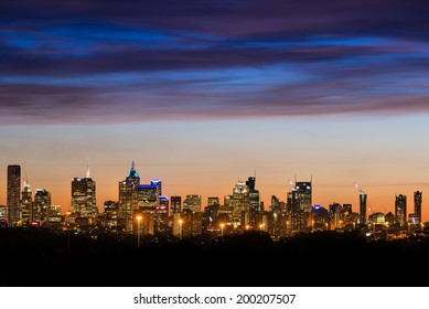 Melbourne City Skyline at sunset shot from Yarra Bend