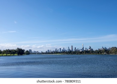Melbourne City Skyline View from Albert Park Lake