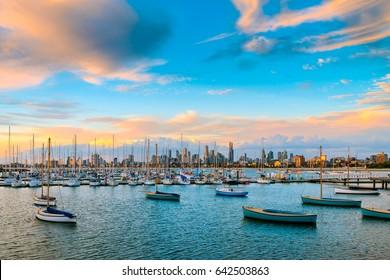 Melbourne city skyline viewed from St. Kilda beach, Victoria, Australia