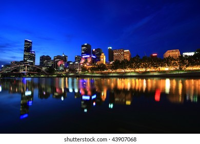 Melbourne City Waterfront Panorama Skyline