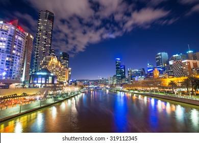 Melbourne city the world's most liveable city of Australia at dusk.