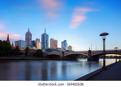 Melbourne city and the Yarra river with blue sky.