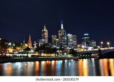 Melbourne city and the Yarra river nightscape