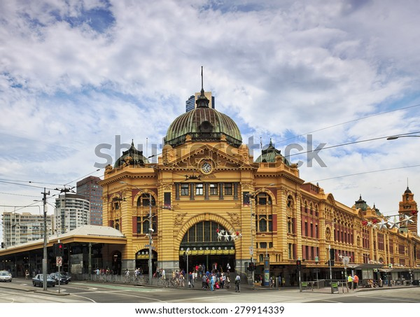 Melbourne city's historic building- Flinders station built of yellow sandstone in colonial victorian style
