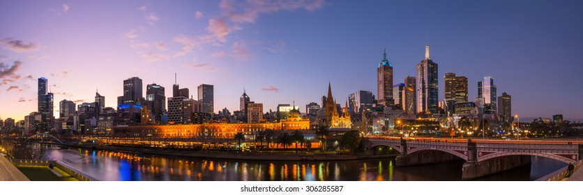 Melbourne cityscape after sunset in Victoria state, Australia. Panorama view.