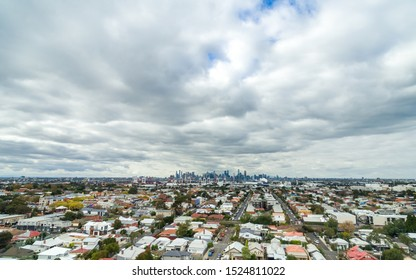 Melbourne cityscape from a distance on cloudy day