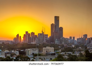 Melbourne cityscape during sunset