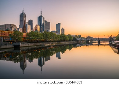 Melbourne cityscape in the morning sunrise, Victoria state of Australia. Melbourne is one of the most livable cities in the world.