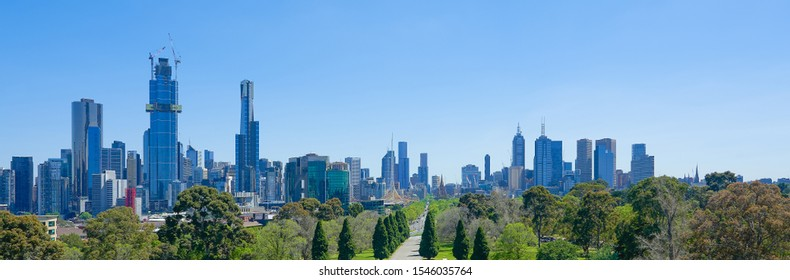 Melbourne cityscape panorama on a sunny day .
