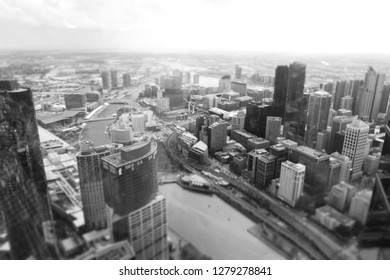 Melbourne cityscape with selective tilt-shift to create a minature town effect - in Monochrome.