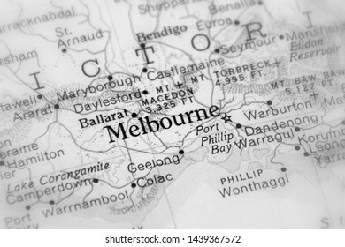Melbourne, coastal capital of the southeastern Australian state of Victoria (selective black and white focus)