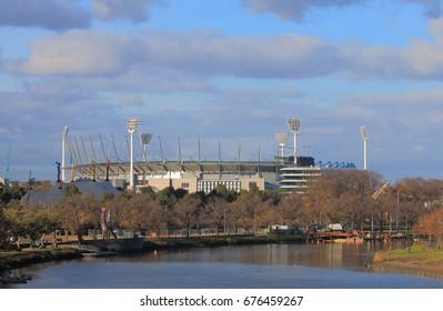 Melbourne Cricket Ground  along Yarra river in Melbourne Australia