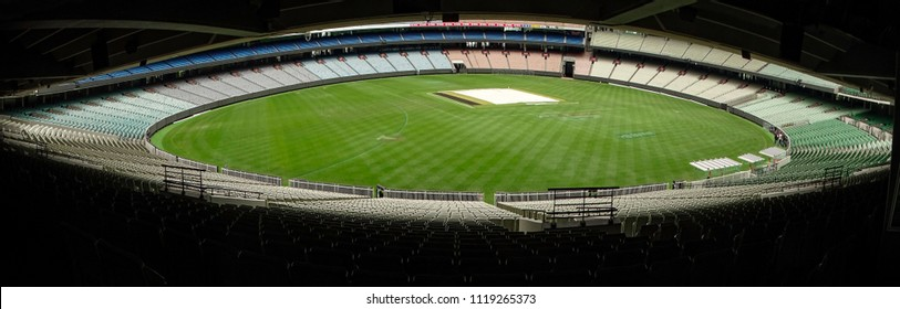 Melbourne Cricket Ground, Melbourne, Australia - October 8th, 2017: Panoramic view of the MCG ground surrounded by its vast empty stands, on a non sporting day