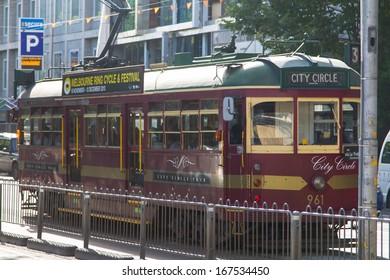 MELBOURNE - DECEMBER 03: Famous vintage tourist trams on December 03, 2013 in Melbourne, Australia. Melbourne is the second most visited city in Australia