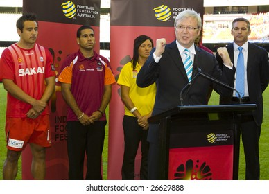 MELBOURNE - FEBRUARY 28: A-league Major Grand Final - Melbourne Victory 1 defeat Adelaide  United 0. Prime Minister Kevin Rudd announces the launch of the indigenous football program.