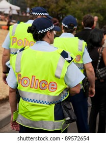 MELBOURNE - FEBRUARY 8: Unidentified police on patrol at the St Kilda Festival on February 8, 2009 in Melbourne, Australia. The Victoria Police has over 12,000 sworn members stationed across 393 police stations.