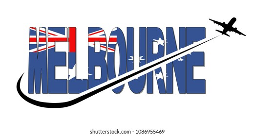 Melbourne flag text with plane silhouette and swoosh illustration
