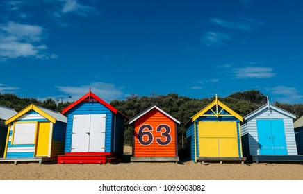 A Melbourne icon for tourist, colourful bathing boxes at Brighton Beach, Melbourne, Australia.