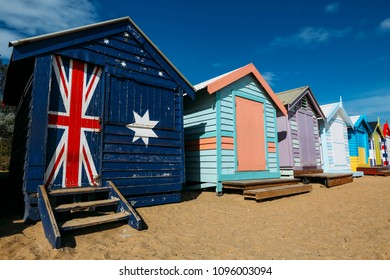 A Melbourne icon for tourist, colourful bathing boxes at Brighton Beach, Melbourne, Australia.