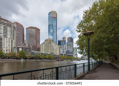 MELBOURNE - JAN 31 2016: View of Yarra river with Eureka Tower and office buildings in the background.