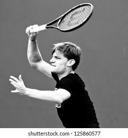 MELBOURNE - JANUARY 12:  David Goggin of Belgium practices at the 2013 Australian Open on January 12, 2013 in Melbourne, Australia.