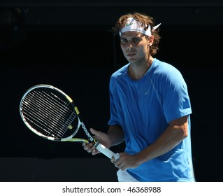 MELBOURNE - JANUARY 16: Rafauel Nadal of Spain at a practice session in the lead up to the Australian Open on January 16, 2010 in Melbourne